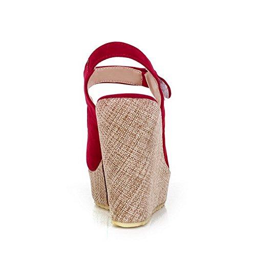 AllhqFashion Femme Couleur Unie à Talon Haut Ouverture Petite Suédé Velcro Sandales Rouge
