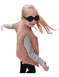 Longra Kinder Mädchen Herbst Winter Ärmellose Weste Kunstpelz Jacken Weste Warm Pelzweste Parka Mädchen Pelzjacke Outwear Wintermantel Woolmantel (3-8Jahre)