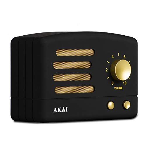 AKAI R50BT/BK - Altavoz Vintage, Bluetooth, bateria Recargable USB, Color Negro