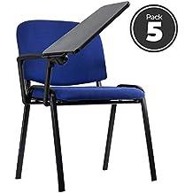 Regalos Miguel - Sillas Oficina - Pack 5 Sillas Ofis Azules con Pala