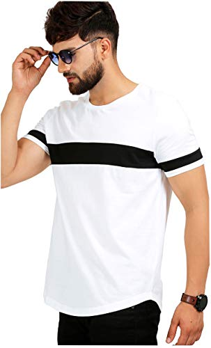 AELO Men's Cotton T Shirt-(Amt1072-Pn_White) (White and Black, Large)