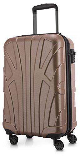 Suitline Handgepäck Hartschalen-Koffer Koffer Trolley Rollkoffer Reisekoffer, TSA, 55 cm, ca. 34 Liter, 100% ABS Matt, Gold