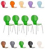 CLP 4X Stapelstuhl Diego l Ergonomisch geformter Konferenzstuhl mit Holzsitz und Metallgestell I Stapelbarer Stuhl mit pflegeleichter Sitzfläche Grün