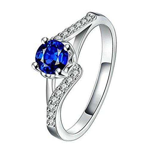 Anyeda Edelstahl Blau Ringe Fürdamen Ringe Mit Pfoten Runde Cz Crystal Damen Engagement Ringgröße 54 (17.2) (4ct Cz Engagement Ring)