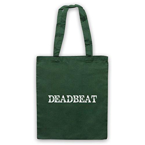 Deadbeat borsa, scritta con Slogan divertente Verde scuro