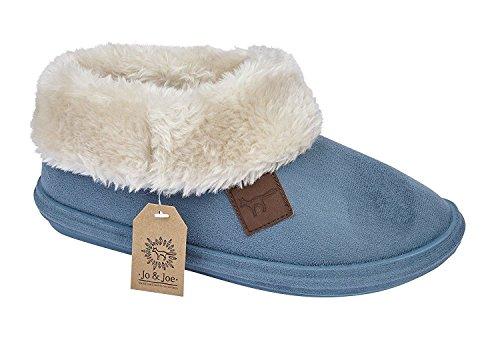 Jo & Joe Chiltern Fur Lined Fur Collar Slipper Boot - Cognac, Dark Brown Light Blue