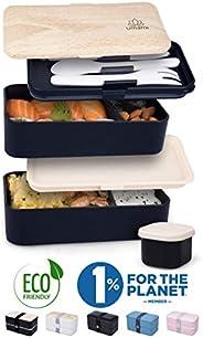 Umami® ⭐ Premium Lunchbox – 1 Soßendose & 3-teiliges Besteck – Japanische Luftdichte Bento Box – Brotdose