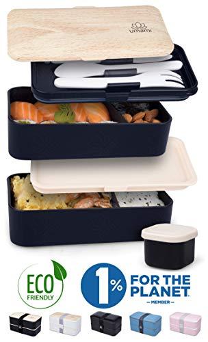 Umami® ⭐ Premium Lunchbox - 1 Soßendose & 3-teiliges Besteck - Japanische Luftdichte Bento Box - Brotdose mit Fächern - Zero Waste - Mikrowellen- & Geschirrspülerfest - BPA-frei - 5 Jahre Garantie