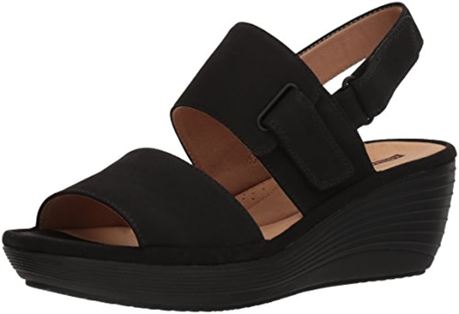 Clarks Clarks Clarks Wouomo Reedly Breen Wedge Sandal, nero Nubuck, 10 Medium US | Facile Da Pulire Surface