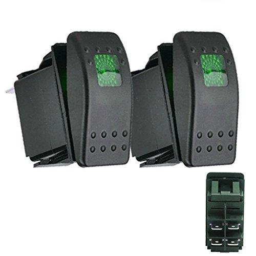 Qiorange KFZ Auto Offroad Kippschalter Druckschalter Schalter Wippschalter Wasserdicht 12V 20A Grün LED Licht 4Pin AN/AUS (Grün 2 Pcs)