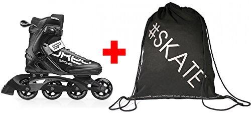 Spokey Set Prime Inline Skates + ULTRAPOWER Beutelrucksack | Kinder | Damen | Herren | Inline Blades | ABEC9 Carbon | Aluminiumschiene, Größe/Size:45, Farben:Prime - Schwarz Carbon Blade Set