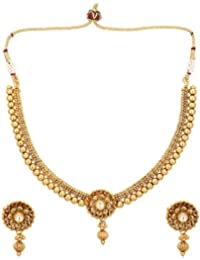 Aarvi Collections Flower Designed 24K Gold Plated Studded With Beautiful Beads Necklace Set For Women/Girls.