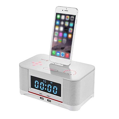 WXGY Digitale Radiowecker mit Dual-Alarm und FM-Bluetooth-4.0-Lautsprecher, Akku-Backup, Schlummer- und Sleep-Timer, großes Display, NFC-Kompatibilität, Dock für iPhone/Ipad/Ipod - Nano Lautsprecher Dock Mit Ipod