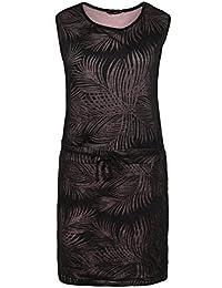 Stitch & Soul Damen Midi Kleid mit Allover Palmen-Muster | Sommerliches Shirtkleid mit schmalen Flechtgürtel