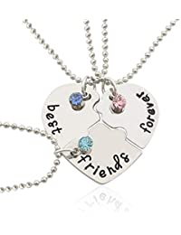 8af8a9e1a02d Gudelaa Best Friends Forever Necklaces Collar de trinquete de Plata de  Acero Inoxidable en Tres Piezas Collar de…