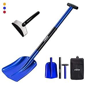 OVERMONT Lawinenschaufel Schneeschaufel Notschaufel Abziehbar Aluminium 3 Teilig mit Einer Tasche für Gartenarbeit…
