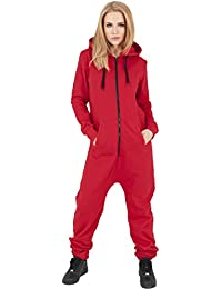 Urban Classics tb1077 Ladies Sweat Jumpsuit Mono Mujer Streetwear vestido, red/blk, XS