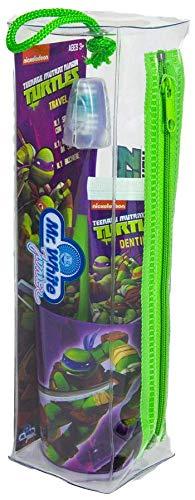 MR WHITE Ninja Turtles Travel Kit/Pochette Set Oral Hygiene Zahnbürste mit Saugnapf, 50 ml Zahnpasta und praktischem Reisebecher