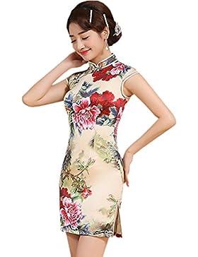 77327d57c991 YueLian Qipao Seta Stampato Vestito Corto Giallo