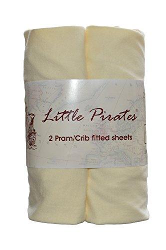 Little Pirates Lot de 2 draps-housse en jersey pour landau/couffin/berceau 100% coton Crème 40 x 90...