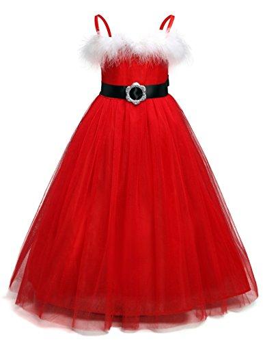 QSEFT Weiße Feder Santa Baby Weihnachten Tutu Kleid Kinder Mädchen Red Fluffy Ballkleid New Year Foto Tutu Kleid Phantasie Party Prinzessin Kleid 2-7 Jahre Alt,100