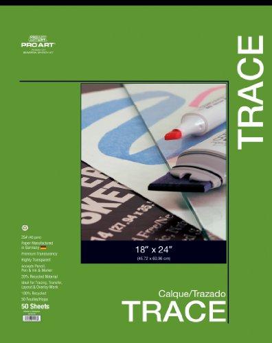 Pro-Art Transparentpapier, 22,9 x 30,5 cm 18-inch x 24-inch, 50 Sheet Tape Bound Pad (24 18 X Drafting-papier)