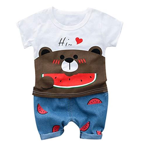 AMUSTER Kinderkleidung Tops + Pants Set T-Shirt Blusen Hosen Outfits Jungen Mädchen Kurz Ärmel Kleidung mit Bär Druck -