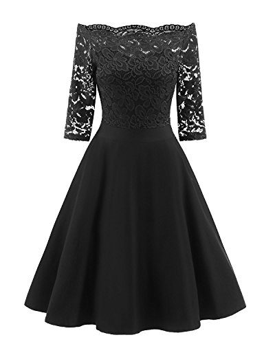 Viloree 53s Rockabilly Retro Damen Kleider Halbarme Swing Cocktailkleider Party Abschlussball Schwarz XL