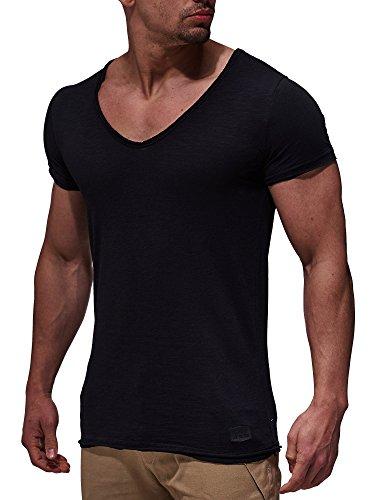 LEIF NELSON Herren T-Shirt V-Neck V-Ausschnitt Kurzarm-shirt Top Basic Shirt Crew Neck Vintage Sweatshirt Sweater LN6280 S-XXL; Größe XL, Schwarz