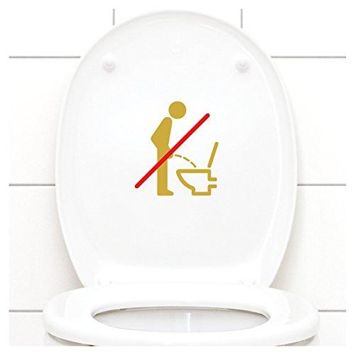 Grandora WC Deckel Sticker - Bitte im Sitzen pinkeln Schild I gold 11 x 12 cm I Piktogramm WC Bad Badezimmer Toilette Klodeckel Aufkleber W733 Gold-folie-deckel
