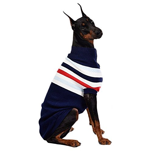 ASOCEA Hundepullover für mittelgroße und große Hunde, gestreift, klassisch, warm
