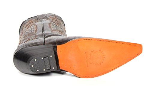 House of Luggage Bottes de Cowboy en Cuir Véritable Pour Homme Talon Western Longueur du Mollet Bout Pointu Chaussures HLG03CA Marron