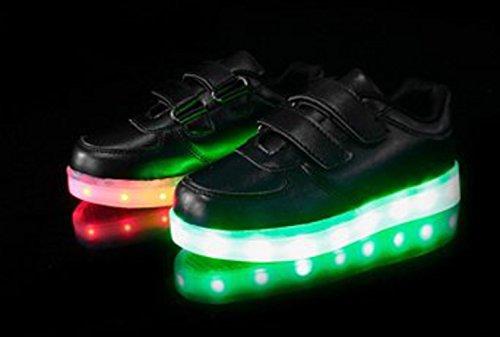 [Present:kleines Handtuch]JUNGLEST® Kinder Jungen Mädchen LED Schuhe Leuchtend Sneaker Farbwechsel Fluorescence Turnschuhe Sportsschuh Schwarz