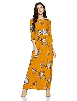 pluss Mustard Three-Quarter Sleeves Solid Polyester Women Dress
