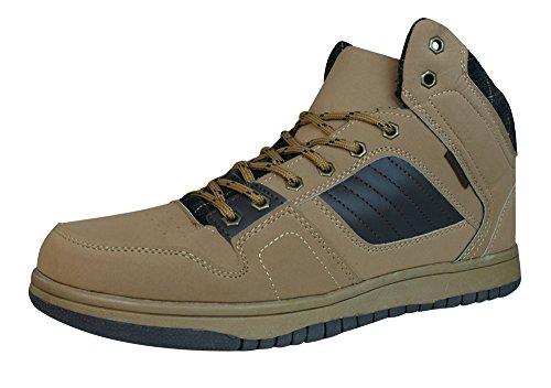 Centro Ronzo Herren Hi Top Sneaker / Stiefel - Brown-Brown-42