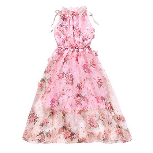 Alwayswin Kinder Mädchen Prinzessin Kleid Elegant Party Langes Kleid Blumen Schmetterling Sommerkleid Geraffte Schulter Blumenkleid Lose Mode Böhmisches Kleid One-Shoulder-Kleid -