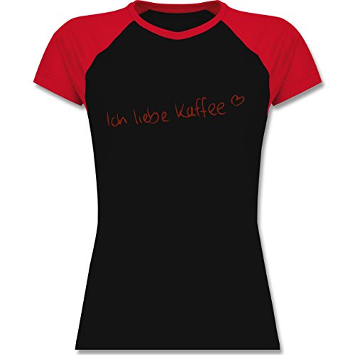 Küche - Ich liebe Kaffee - zweifarbiges Baseballshirt / Raglan T-Shirt für Damen Schwarz/Rot