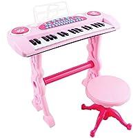 deAO Tastiera Elettronica per Bambini - Pianoforte Karaoke 37 Chiavi, con Microfono, Sgabello, Varietà di Suoni, Ritmi e Melodie (ROSA)