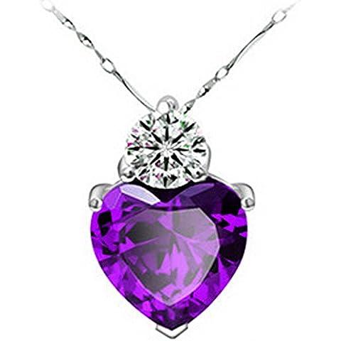 OUMOSI Charm pendente da donna, zircone a forma di cuore, scritta