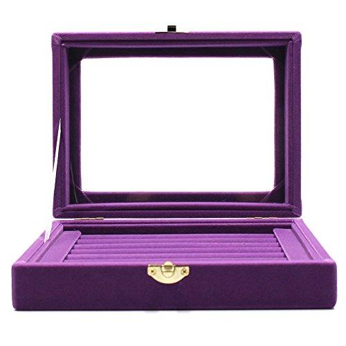 MMBox 7ranuras terciopelo cristal joyas pantalla caja de almacenamie