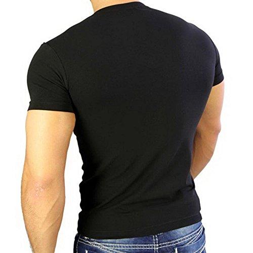 Herren T-Shirt Mix Motive Strass Steine Style Rundhals Kurzarm S M L XL XXL NEU 4319 Schwarz