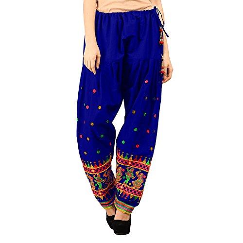 Vastraa Fusion Ethnic Embroidered Ladies Freesize Cotton Salwar - Royal Blue Colour