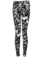 The Home of Fashion New Ladies Black and White Skull and Rose Print Stretchy Leggings Size 8-14 (12 (ML))