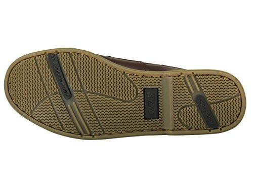 Chaussures de bateau pour les hommes - bleu et brun Marron