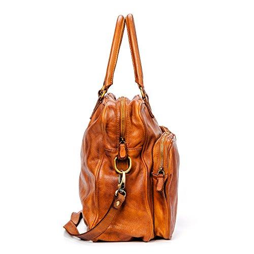 Ira del Valle, Borsa Donna, In Vera Pelle, Vintage, Borsa tracolla donna, Modello California Bag, Made In Italy Cognac