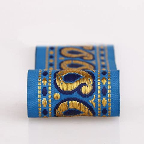 Neotrims Decorative Indian Paisley Salwar Kemeez Sari Trimmings Ribbon By The Yard, Great Price Limited Edition Embellishment, Non Repeatable, Great Value. Turquoise, Navy with Gold; Beautiful. - Vivid Blue - 4