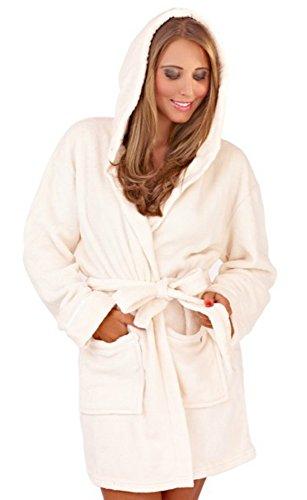 VB © pour femme à capuche en polaire douillette Corel Peignoir ultra-chaud et confortable, très Bazaar (TM) Crème