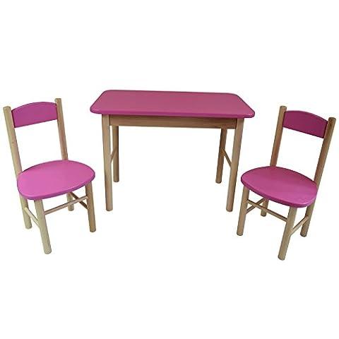 Kindersitzgruppe Kindertisch Kinderstuhl Kindermöbel aus Holz (Rosa)