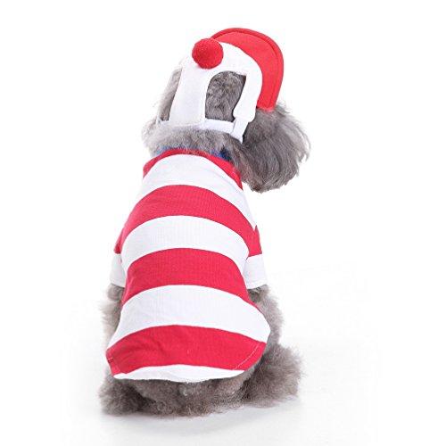 selmai Weihnachts Puppy Kostüm mit Hut, kleiner Hund Katze Weihnachten Sweatshirt Streifen Pet Urlaub Cosplay Outfits Kleidung Bekleidung