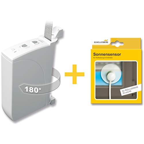 Schellenberg 22735 Elektrischer Gurtwickler RolloDrive 35 + Sonnensensor 22746, System Mini für 14 mm Gurtbreite, Rolladenantrieb